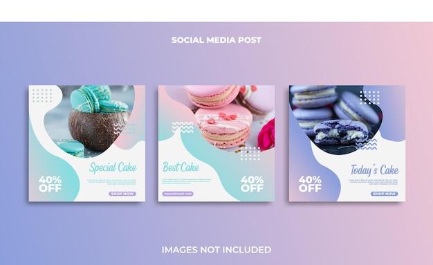 Disegno del modello di post di cibo instagram