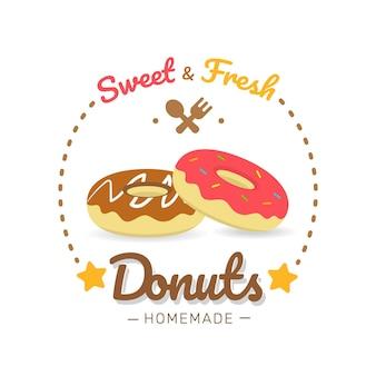 Illustrazione di panetteria etichetta alimentare set da dessert isolato