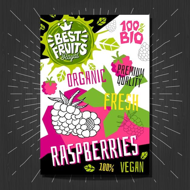 Gli adesivi delle etichette dell'alimento hanno messo la frutta variopinta di stile di schizzo, progettazione di pacchetto delle verdure delle spezie. lamponi, bacche, bacche. biologico, fresco, bio, eco. disegnato a mano.