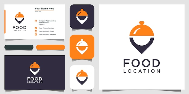 Icona della posizione del cibo logo design ispirazione e biglietto da visita