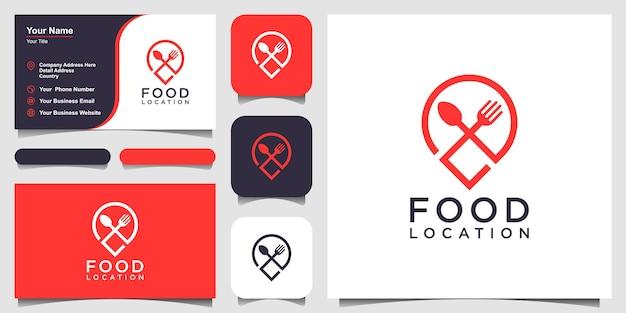 Icona della spilla per il design del logo della posizione del cibo combinata con un design del biglietto da visita con forchetta e cucchiaio