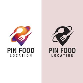 Design del logo della posizione del cibo, con il concetto di una forchetta e un cucchiaio del vento