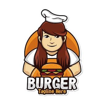 Uomo di chef logo cibo con mascotte hamburger