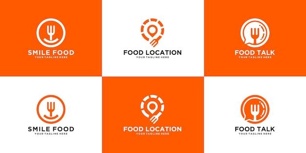 Collezione logo alimentare, fast food, consegna e cibo fresco