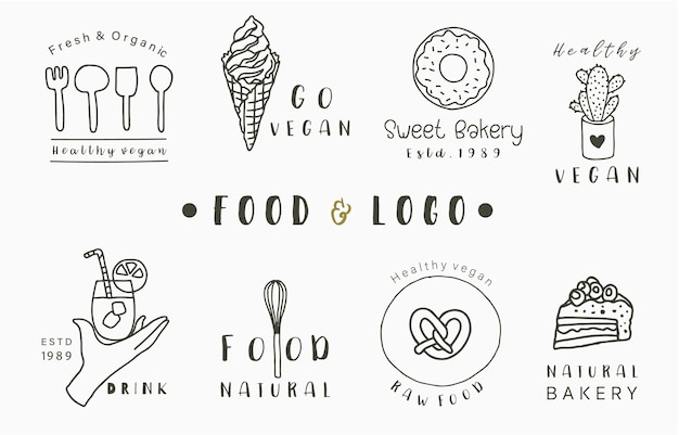 Collezione logo cibo con torta, bevanda, ciambella, gelato.illustrazione vettoriale per icona, logo, adesivo, stampabile e tatuaggio