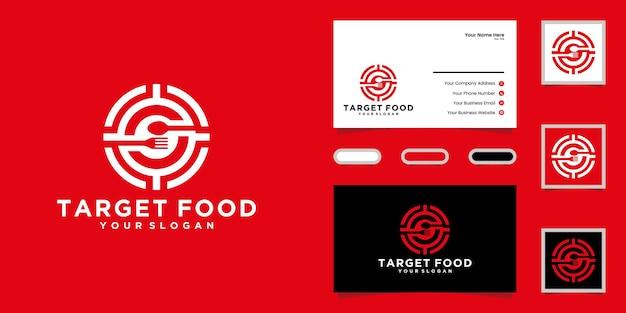 Design del logo alimentare e design del logo target e del biglietto da visita
