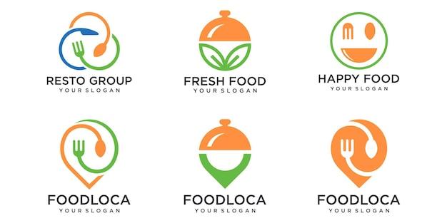 Insieme dell'icona di logo di cibo. disegno del modello di illustrazione vettoriale