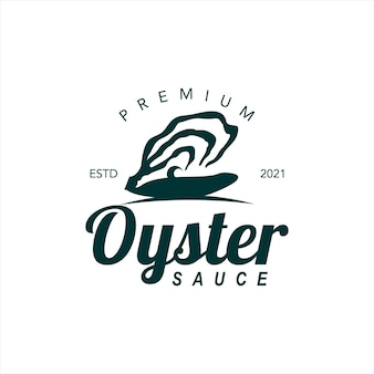 Etichetta di sapore di pesce di vettore di salsa di ostriche premium logo alimentare