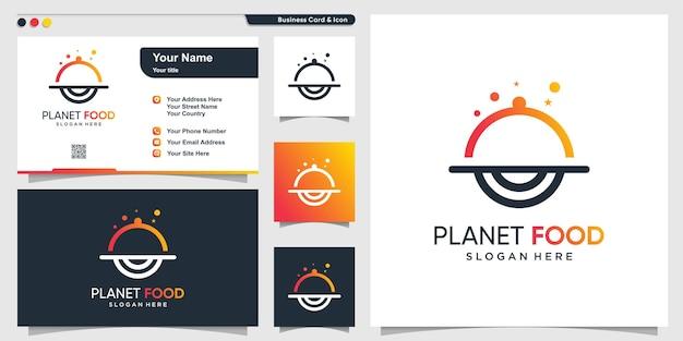 Logo alimentare con stile moderno e creativo del pianeta vettore premium