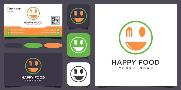 Logo di cibo con sorriso. etichetta per azienda alimentare. illustrazione vettoriale con bocca sorridente.