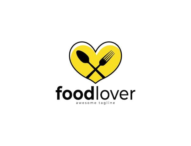 Concetto di logo di design amante del cibo con illustrazione di cucchiaio e forchetta