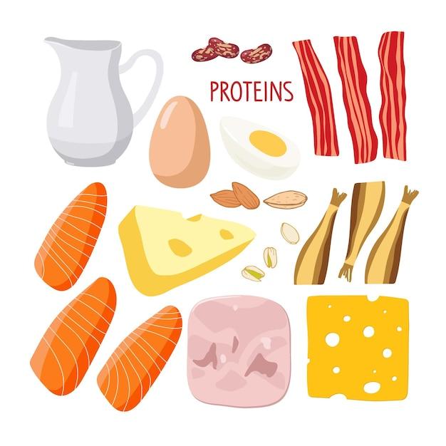 Macronutrienti alimentari ricco di set di alimenti proteici alimenti ad alto contenuto proteico per una dieta quotidiana sana isolata