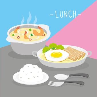 Il pasto del pranzo del pasto dell'alimento mangia il vettore del ristorante del menu della bevanda