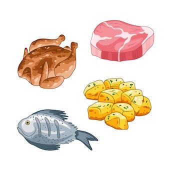 Cibo e pasti impostati in stile cartone animato. illustrazione di bistecca di carne, pollo, pesce e patate. oggetti singoli isolati su bianco.