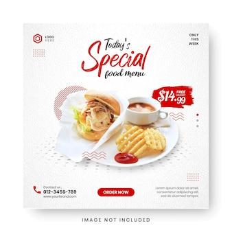 Post di social media banner menu cibo. Vettore Premium