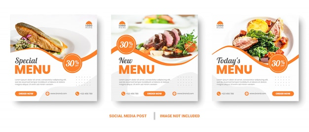 Menu di cibo banner social media post.
