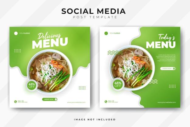 Post di social media banner menu cibo.