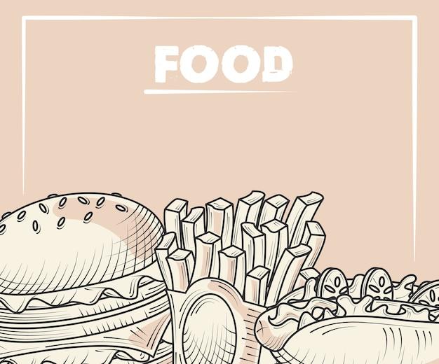 Menu di cibo hamburger patatine fritte e hot dog poster illustrazione disegnata a mano