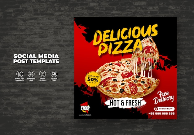 Menu di cibo e deliziosa pizza calda fresca per il modello vettoriale dei social media