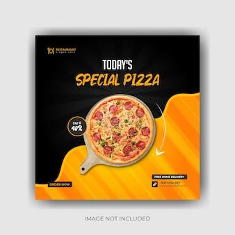 Menu di cibo e deliziosa pizza modello banner per social media vettore premium