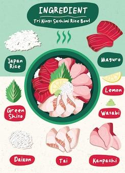 Salmone del disegno del menu dell'alimento