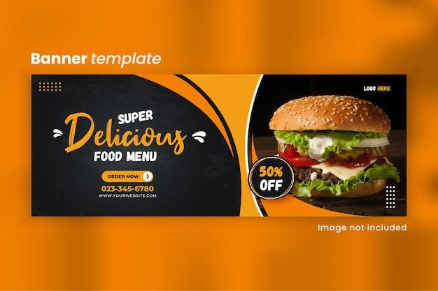Modello di copertina facebook menu cibo