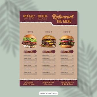 Progettazione del modello di volantino del menu del cibo menu del ristorante poster del menu del cibo modello di progettazione del menu del menu di fast food