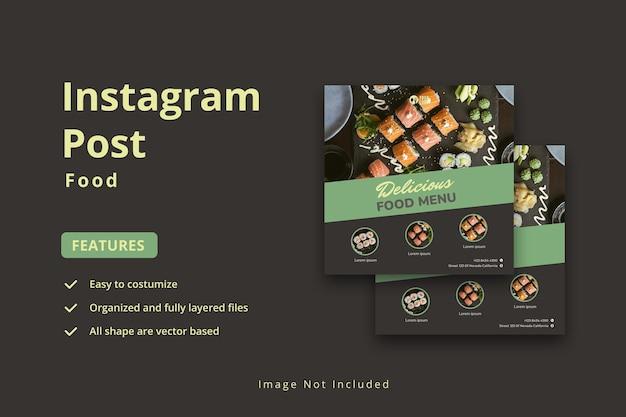 Menu di cibo e modello di banner per social media del ristorante