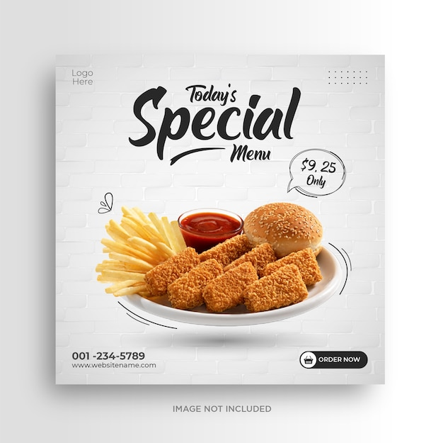 Modello di banner di social media ristorante menu cibo