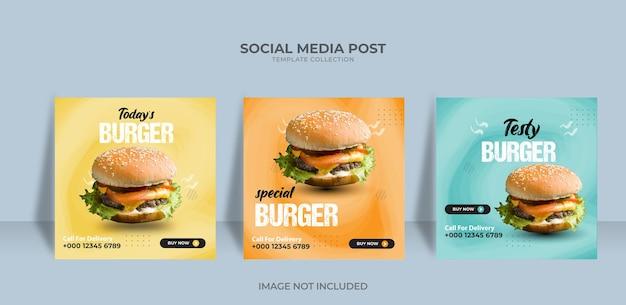Modello di post sui social media del ristorante del menu del cibo vettore premium