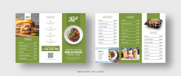 Brochure a tre ante del menu del ristorante