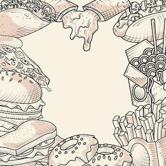 Cibo menu spuntini pane hamburger panino ciambelle illustrazione poster disegnato a mano
