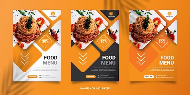 Modello di banner post social media menu di cibo vettore premium