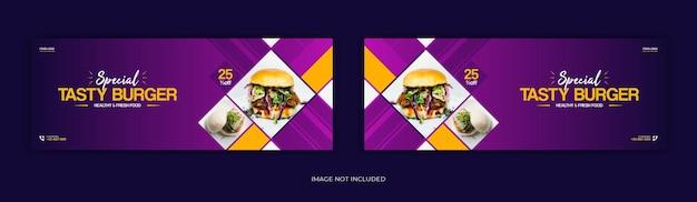 Menu del cibo sui social media post sulla timeline della copertina di facebook