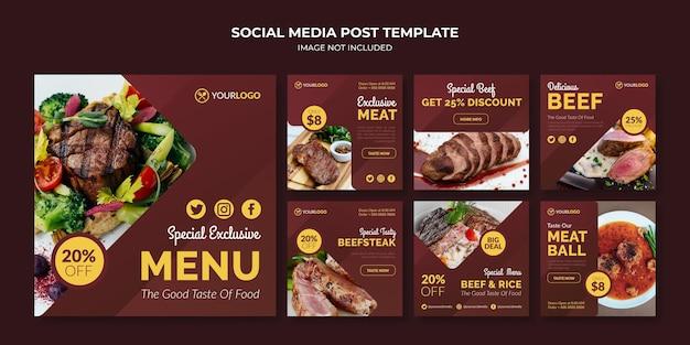 Modello di post sui social media per menu di cibo per ristorante e caffetteria