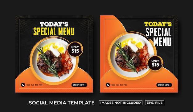 Modello di post sui social media del menu del cibo