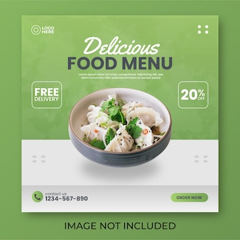 Post sui social media del menu del cibo