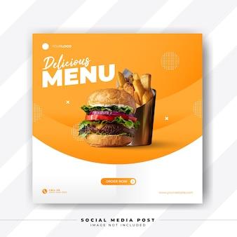 Modello di banner di social media quadrati di menu di cibo