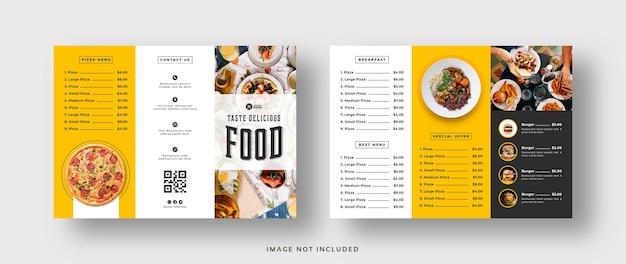 Brochure a tre ante con menu di cibo per ristorante
