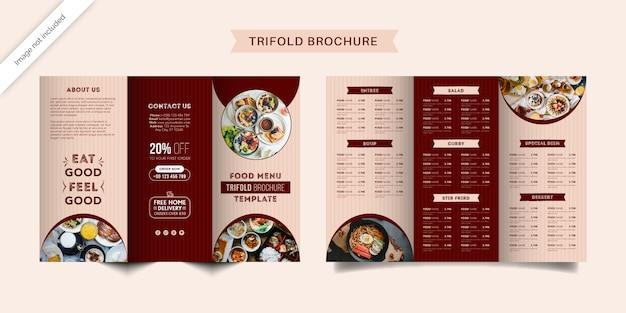 Modello di brochure a tre ante con menu di cibo