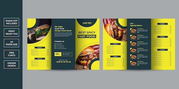 Brochure a tre ante del menu del cibo