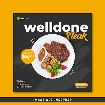 Menu di cibo e modello di banner per social media di bistecca ben cotta vettore gratuito