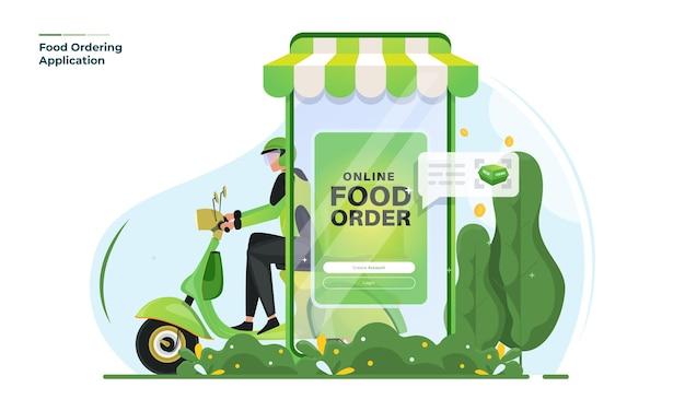 Illustrazione del servizio di consegna di ordine alimentare