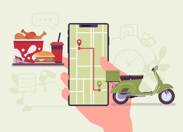 Sistema di tracciamento degli ordini alimentari sullo schermo dello smartphone. tracker di spedizione del viaggio in scooter a un cliente, servizio di app per il ritiro, la consegna e il processo di evasione delle merci. illustrazione del fumetto di vettore stile piano