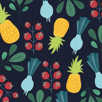 La cipolla di ananas dei pomodori di dieta biologica dell'alimento lascia l'illustrazione della carta da parati