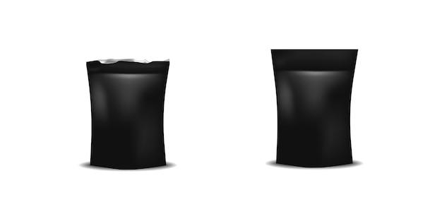 Modello in bianco nero realistico del pacchetto dell'alimento, derisione d'imballaggio della borsa del contenitore sull'illustrazione.