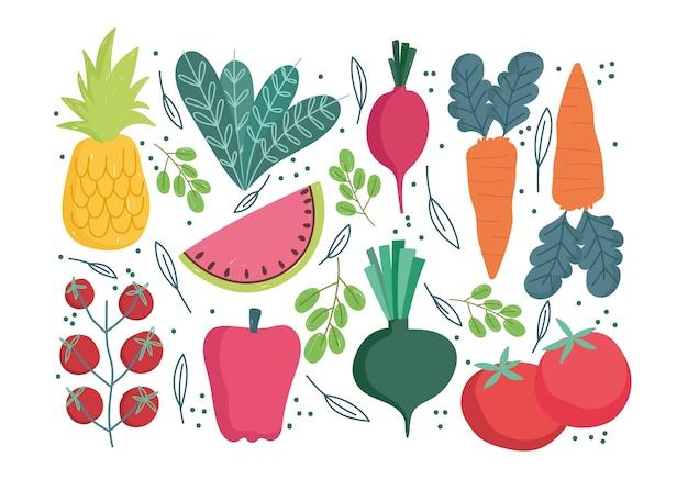 Modello di cibo, carota ravanello pepe pomodoro ananas e anguria design illustrazione