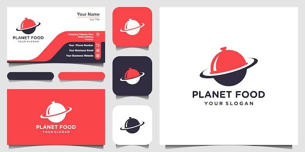 Illustrazione del modello di progettazione del logo del pianeta alimentare e progettazione del biglietto da visita.