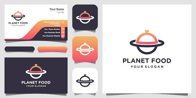Illustrazione del modello di progettazione di logo del pianeta alimentare e progettazione di biglietti da visita