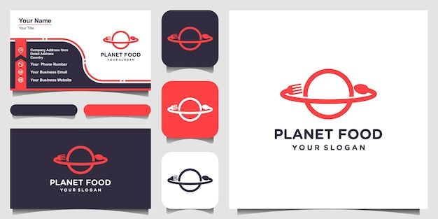 Pianeta alimentare con logo in stile line art e design di biglietti da visita.